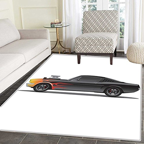 (Cars Area Mat Carpet Custom Design Muscle Car with Supercharger and Flames Roadster Retro Styled Living Dinning Room and Bedroom Mats 3'x4' Charcoal Grey)