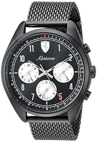 Ferrari Men's Abetone Quartz Watch with Stainless-Steel Strap, Black, 20 (Model: 0830573) ()