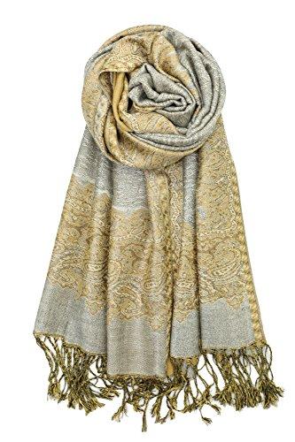 Achillea Elegant Reversible Paisley Border Pattern Pashmina Shawl Wrap Scarf (Grey Gold)