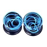 7 16 glass plugs - Lianrun Glass Blue Curve Fresh Double Flared Ear Plugs Tunnels Gauges 0g