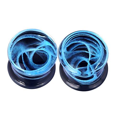 Lianrun Glass Blue Curve Fresh Double Flared Ear Plugs Tunnels Gauges 9/16