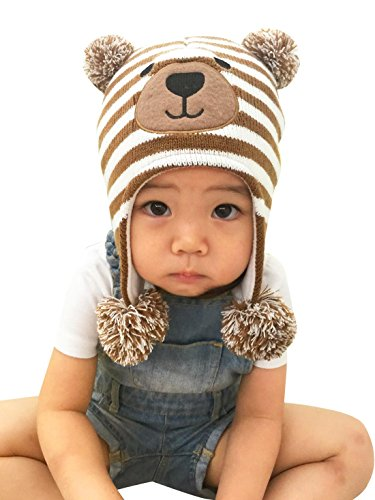 Earflap Pattern Hat Crochet - Kids Boy's Winter Earflap Hat Cute Cartoon Bear Pattern Warm Hat Crochet Knit Fleece Cap for 1-2T S
