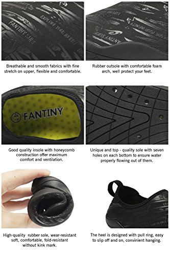 FANTINY Men and Women's Barefoot Quick-Dry Water Sports Aqua Shoes with 14 Drainage Holes for Swim, Walking, Yoga, Lake, Beach, Garden, Park, Driving, Boating,SVD,Black,42 4