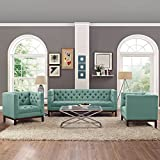 Modern Contemporary Urban Design Living Lounge Room Sofa Set ( Set of Three), Blue, Fabric