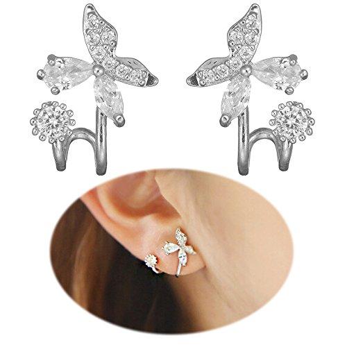 Ear Climber Earrings Crawler Butterfly Flower Ear Cuff Pin Vine Wrap Studs CZ Crystal Rhinestone Jewelry Silver (Silver Butterfly Cuff)