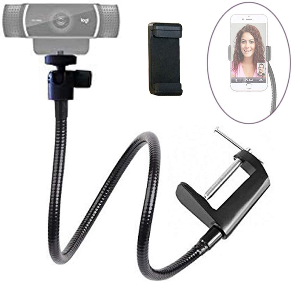 "Etubby Webcam Stand Phone Holder 26"" Adjustable Gooseneck Desktop Camera Desk Clamp Mount for All Cellphones, Logitech Webcam C925e, C922, C930e, C930, C920, C615, Etc. (1/4"" Threaded)"