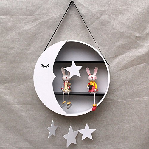 Children Room Decor Hang Moon Storage Racks Cute Wall Hanger Wooden Christmas Gifts Toys Figurines Display Storage Racks Kangsanli (pink)