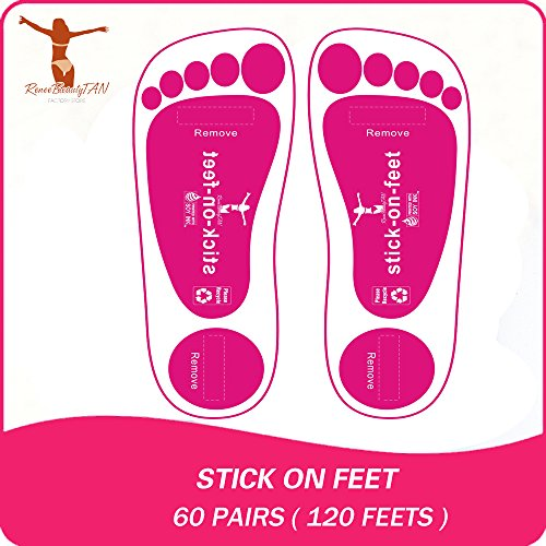 Economy 60Pairs(120feets) Pink Spray Tan Stick on Feet Tanning Stick on Foot Protectors