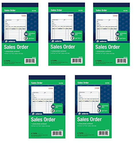 (Adams Sales Order Book, 2-Part, Carbonless, White/Canary, 4-3/16 x 7-3/16 inches, 50 Sets per Book, 5 Books, 250 Sets Total (DC4705))
