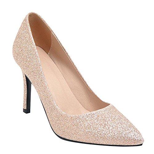 Mee Shoes Damen Stiletto Pailletten Slip On Pumps Gold