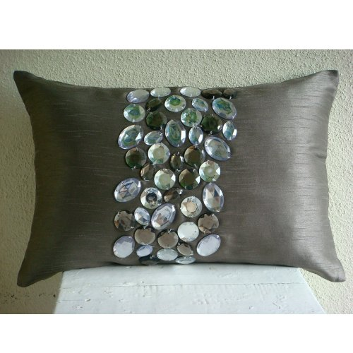 Luxury Grey Lumbar Pillow Cover, Crystals Bling Sparkly Pillows Cover, 12