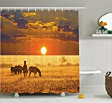 Ambesonne African Decorations Collection, Group of Zebra on the West African Safari Territory at Sunset Horizon Tropic Photo , Polyester Fabric Bathroom Shower Curtain, 84 Inches Extra Long, Orange