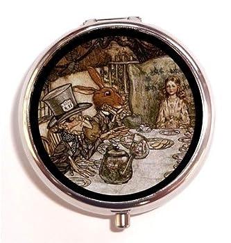Alice in Wonderland Tea Party Mad Hatter White Rabbit Pill Box Case Pillbox