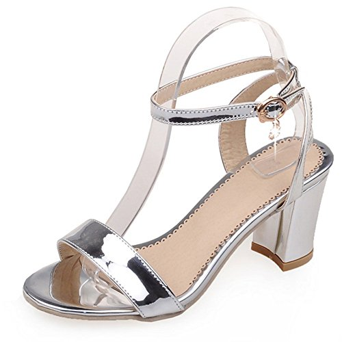 Moda Talón de las mujeres grueso talón abierto Toe tobillo Correa sandalias de Slingback plata