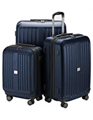 "HAUPTSTADTKOFFER – X-Berg - Set of 3 Hard-side Luggages matt Suitcase Hardside Spinner Trolley Expandable (20"", 24"" & 28"") TSA Darkblue"