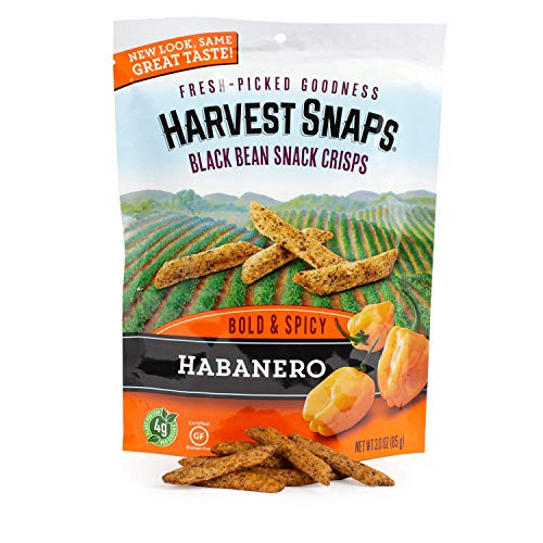 Harvest Snaps Black Bean Snack Crisps, Habanero, deliciously baked and crunchy veggie snacks with plant protein and fiber, 3-Ounce Bag (Pack of 12)
