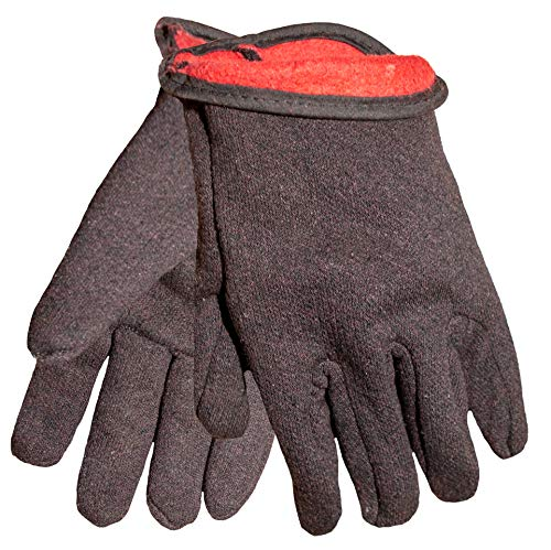 - G & F 4414L-DZ Brown Jersey Winter Work Gloves with Red Fleece Lining, Large, 12-Pair