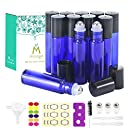12,10ml Roller Bottles for Essential Oils - Cobalt Blue, Glass with Stainless Steel Roller Balls by Mavogel (3 Extra Roller Balls, 30 Pieces Labels, Opener, Funnel, Dropper, Brush Included)