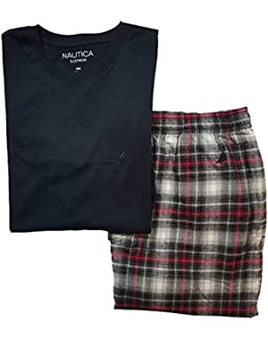 Men's Pajama Set with T-Shirt and Plaid Pant