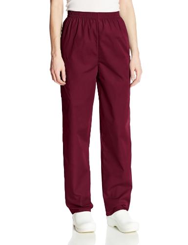 Cherokee Women's Plus Workwear Elastic Waist Cargo Scrubs Pant, Wine, XX-Large Petite
