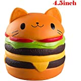 WATINC Kawaii 1 pcs Jumbo Cat Hamburgers Squishy Cream Scented Slow Rising large Kawaii Squishy Charms, Hand Pillow Toy, Stress Relief Toy Toy hop props, decorative props Large (Hamburgers )