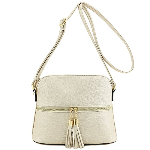 Pocket Crossbody Zipper Champagne Bag Tassel vPHwY