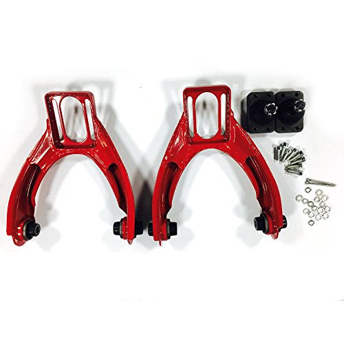 Pair Front Upper Racing Suspension Steel Adjustable Camber Arm Control Kit for 1996 1997 1998 1999 2000 Honda Civic 1.6L L4 Red (00 Honda Civic Racing)