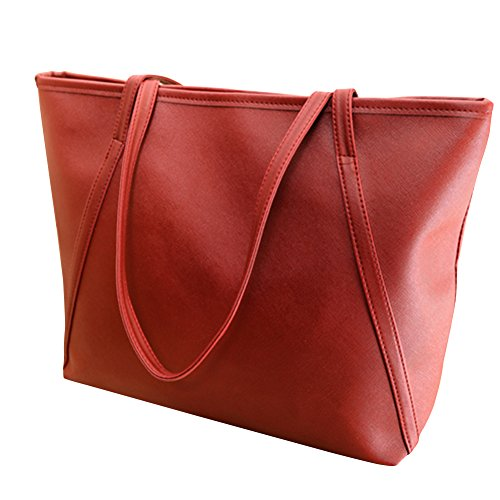 Fashion Bag Shoulder Tote Leather Red Women Solid Color Bag Handbag Wine Faux Big Zipper qSwZwzP