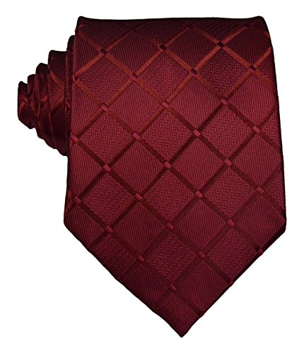 New Classic Plaid Check Dark Red JACQUARD WOVEN Silk Men's Tie Necktie