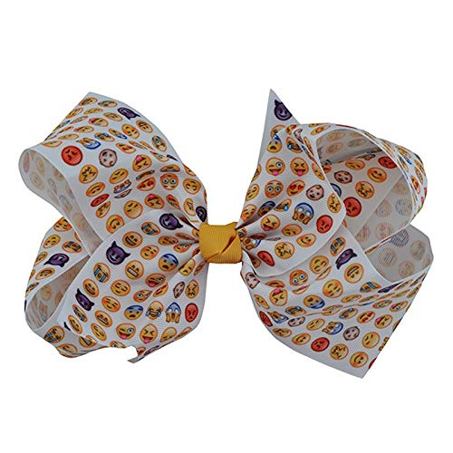 (Boutique Handcrafted Solid Grosgrain Ribbon Emoji Hair Bows with Alligator Hair Clip Forgirls Hair)
