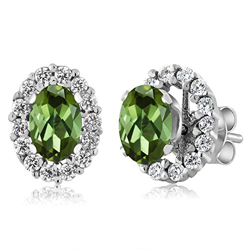 Gem Stone King 1.16 Ct Oval Green Tourmaline Sterling Silver Stud Earrings with Jackets