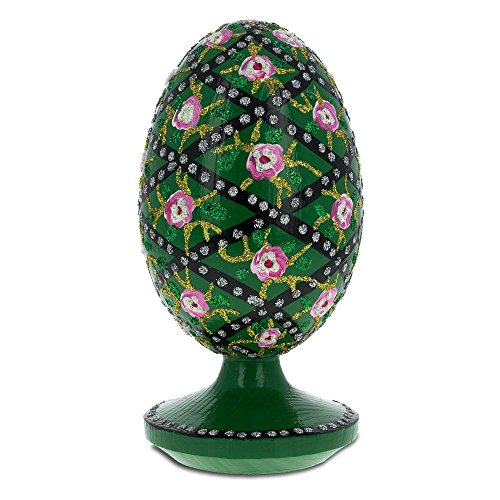 BestPysanky 1907 Rose Trellis Royal Wooden Egg