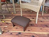 Outdoor Padded Foot Stool Canvas Rich Brown 9'' Tall (Made in the USA)