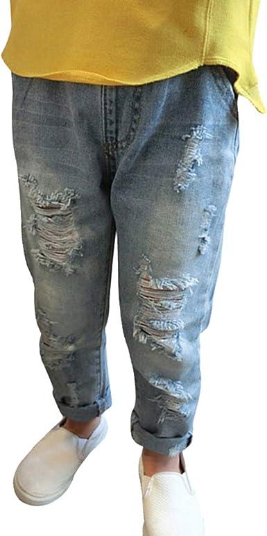 Denim Jeans per Neonati Bambini Comodi Vita Elastica Pantaloni Strappati Moda Casual Jeans Pantalone con Tasche per Ragazze