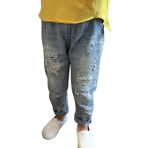 Denim Pantalones para Bebé Niños Suave Cintura Elástica Vaqueros Rotos Moda Primavera Otoño Casuale Denim Jeans para Niños Niñas