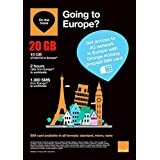Orange Holiday Europe – Prepaid SIM card – 20GB Internet Data in 4G/LTE (data tethering allowed) + 120 mn + 1000 texts in 30 countries in Europe