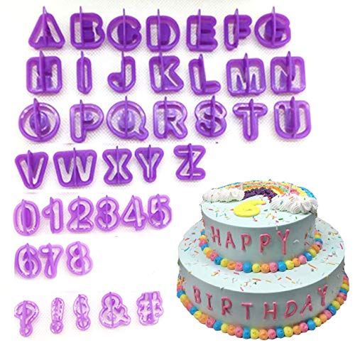 YOYOSTORE 40pcs Alphabet Number Character Letter Fondant Cake Decorating Set Icing Cutter Mold Mould