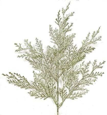 Jade Silver Glitter Lawson Cypress Artificial Floral Picks Pack of 24 | ChristmasTablescapeDecor.com