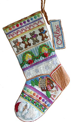 Crewel Embroidery Christmas Stockings - 'Gingerbear' Crewel Christmas Stocking