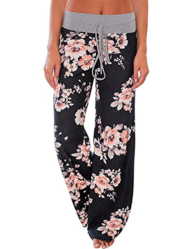 Assivia Womens Wide Leg High Waist Yoga Palazzo Pants Casual Printed Drawstring Trousers (XXL, (Silk Wide Leg Trousers)