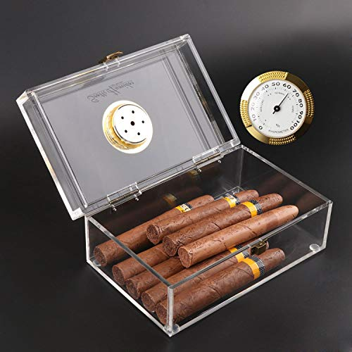 Scotte Acrylic Cigar Humidor Jar/case/Box with Humidifier and Hygrometer,humidor That can Hold About 16-20 Cigars (Clear) (Clear-1)