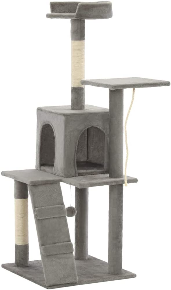 Festnight Rascador para Gatos Poste de Sisal con una Rampa, una Casa, una Cuerda para Escalar, Gris 120 cm: Amazon.es: Hogar
