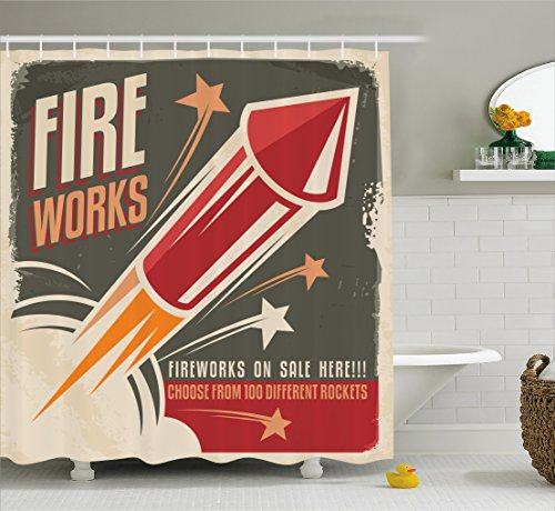 Ambesonne Vintage Decor Collection, Retro Fireworks in Vintage Paper with Stars Rockets Western Halloween Illustration, Polyester Fabric Bathroom Shower Curtain Set with Hooks, Gray -