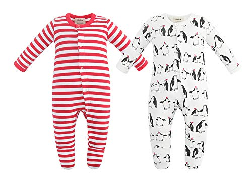 Owlivia Unisex-Baby Organic Button Cotton Sleep N Play Pajamas, 2 Pack Long Sleeve Footed Overall, Boys Girls' Sleeper (Newborn, Penguin+Red Stripe) (Sleeper Footed Red)