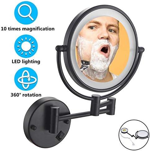 倍率、ライトアップと化粧鏡壁掛け、バスルームのベッドのための8インチ両面360度スイベル拡張可能バニティミラー付きLEDメイクバニティミラー,10x Magnification