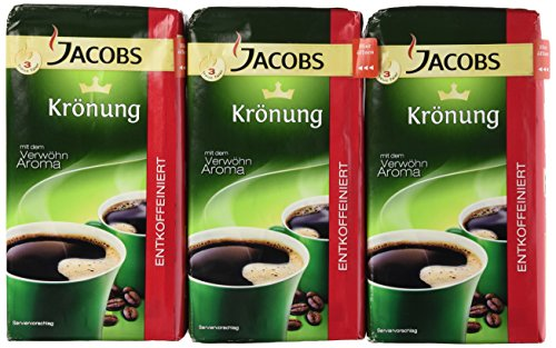 Jacobs Coffee Jacobs Kronung Decaf Ground Coffee, 17.6-Ounce Packages (Pack of 3)