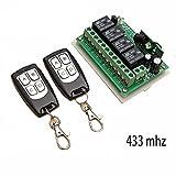 YueYueZou® 433MHZ DC12V 4 Way Remote Control Switch+2 Transmitter RF
