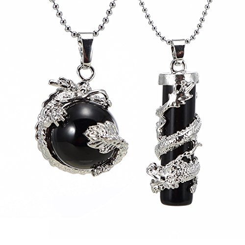 Bead Necklace Onyx 18' (BRCbeads Gemstone Necklace Black Onyx Agate Dragon Wrapped Round Ball Cylinder Pendant Crystal Healping Point Reki Chakra Unisex)