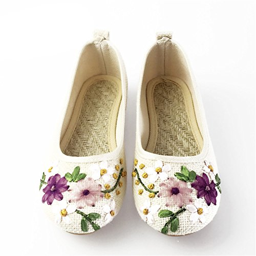 Slip Fabric Feminino Flats Kenavinca Comfortable Ballerina Old Embroidered Flower Vintage 6 Shoes Cotton Peking Women Purple Linen Flat On 4 Sapato x8TTBXqg