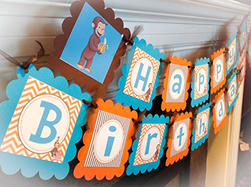 Curious George Inspired Happy Birthday Banner - Orange Chevron and Brown Stripes & Turquoise Accents - Party Packs Available